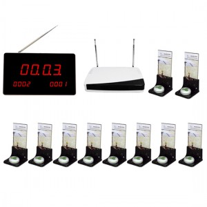 Wireless call system for restaurants with ten call buttons +advertisement stands